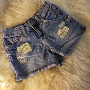Justice l 8R jean shorts cutoffs w sequins